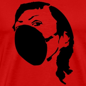 Woman with mask - polution Silhouette Stencil T-Shirts - Men's Premium T-Shirt