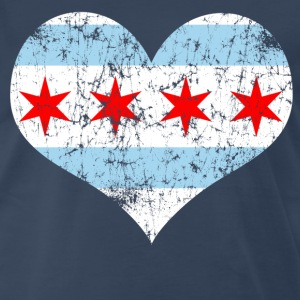 Chicago Flag Heart T-Shirts - Men's Premium T-Shirt