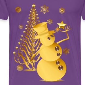 Gold Christmas Snowman and Star Tree - Men's Premium T-Shirt