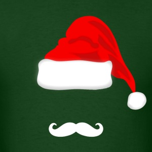 White Mustache and Santa Hat T-shirt - Men's T-Shirt