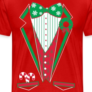 Merry Christmas Tuxedo T Shirt (Red) - Men's Premium T-Shirt