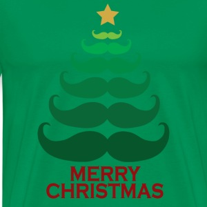 Moustache Merry Christmas Tree T-Shirts - Men's Premium T-Shirt