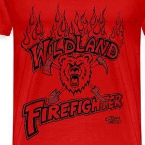 wildland_firefighter_with_bear_shovel T-Shirts - Men's Premium T-Shirt