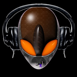 Reptoid Orange Alien DJ Music Lover