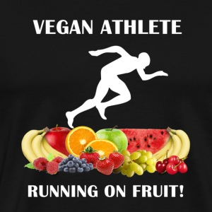 Vegan Athlete Man Running on Fruit 2 Men's Heavy W - Men's Premium T-Shirt