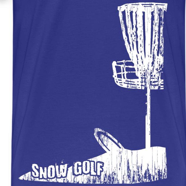 Snow Disc Golf Shirt - White Print - Men's Heavy Weight Shirt