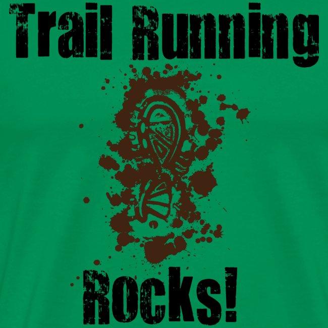 MENS RUNNING T SHIRT - TRAIL RUNNING ROCKS