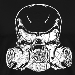 Men's Black Wash Worn Skull & Gas Mask Skirt - Men's Premium T-Shirt