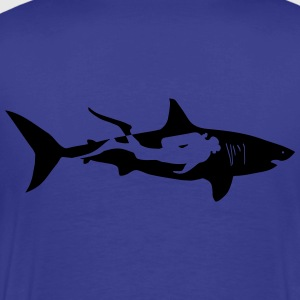 shark scuba diver diving whale dolphin manta T-Shirts - Men's Premium T-Shirt