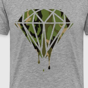 Woodland Camo Pattern Bleeding Diamond T-Shirts - Men's Premium T-Shirt