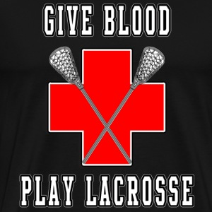 Give Blood Play Lacrosse Dark - Men's Premium T-Shirt