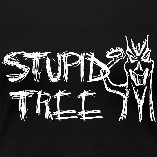 Stupid Tree Disc Golf Shirt - Women's Fitted Shirt - White Print