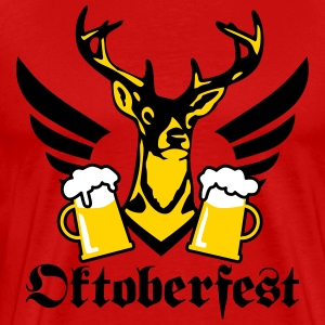 Deer moose Mug of Beer Bier Bayern Bavaria T-Shirt - Men's Premium T-Shirt