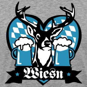 Deer moose Mug of Beer Bier Bayern Bavaria Bayern  - Men's Premium T-Shirt