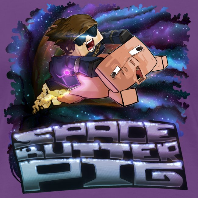 Ladies T Shirt: SPACE BUTTER PIG!
