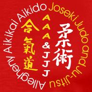 Design ~ Men's standard weight t-shirt 3XL & 4XL white/gold logo and white/gold artwork