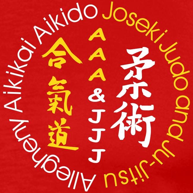 Men's standard weight t-shirt 3XL & 4XL white/gold logo and white/gold artwork