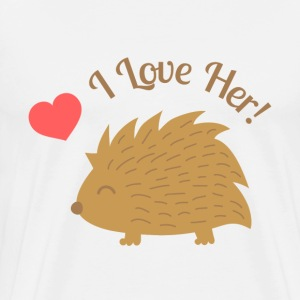 cute male hedgehog, I love her T-Shirts - Men's Premium T-Shirt