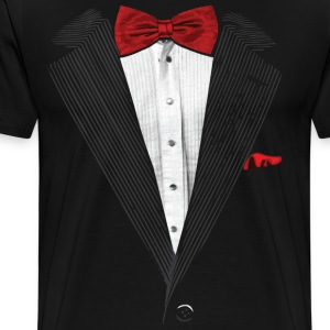 bow tie sear sucker tuxedo T-Shirts - Men's Premium T-Shirt