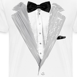 Realistic Tuxedo bow tie and sear sucker T-Shirts - Men's Premium T-Shirt