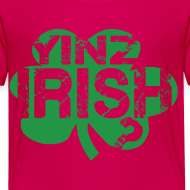 Design ~ Yinz Irish? Pink Kids T-shirt - Green Cutout