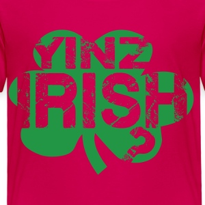 Yinz Irish? Pink Kids T-shirt - Green Cutout - Toddler Premium T-Shirt