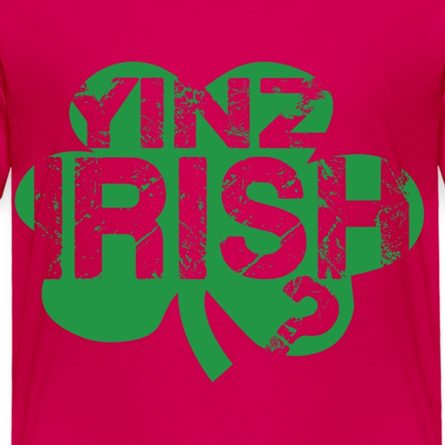 Yinz Irish? Pink Kids T-shirt - Green Cutout