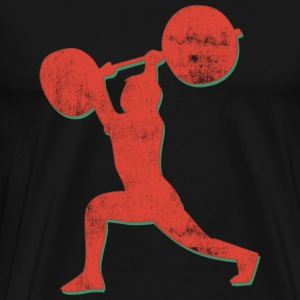 Weightlifter Retro Abstract T-Shirt - Men's Premium T-Shirt