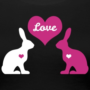 bunny rabbit hare cony leveret bunnies heart love Women's T-Shirts - Women's Premium T-Shirt