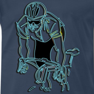 Cycling Abstract Blue T-Shirt - Men's Premium T-Shirt