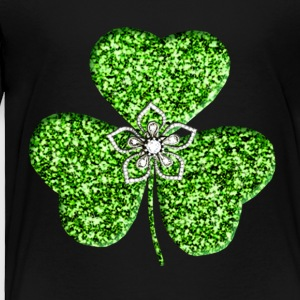 Glitter Shamrock And Flower Toddler Shirt - Toddler Premium T-Shirt