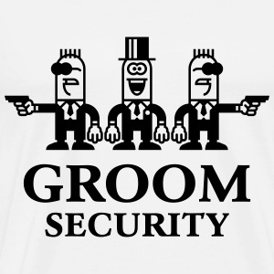 Groom Security Cartoon (Stag Party / 1C) T-Shirts - Men's Premium T-Shirt