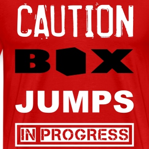 Box Jumps Caution WOD Funny Inspiration T-Shirts - Men's Premium T-Shirt