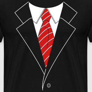 Suit and Tie w/ Stripes (2 Color) T-Shirts - Men's Premium T-Shirt