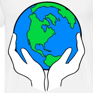 Hands Holding The Earth - Men's Premium T-Shirt