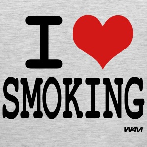 Heather grey i love smoking by wam T-Shirts - Men's Premium Tank