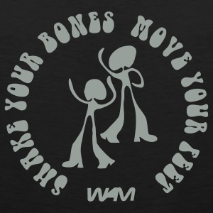 Black shake your bones move your feet by wam T-Shirts - Men's Premium Tank