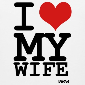 White i love my wife by wam T-Shirts - Men's Premium Tank