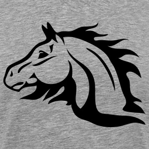 Heather grey horse with flames as mane T-Shirts - Men's Premium T-Shirt