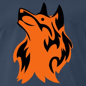Navy wolf with orange and flame device T-Shirts - Men's Premium T-Shirt