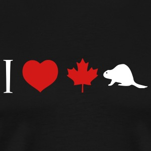 Black I Heart Canadian Beaver T-Shirts - Men's Premium T-Shirt