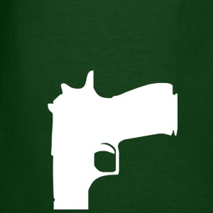 Forest green gun (white) T-Shirts - Men's T-Shirt