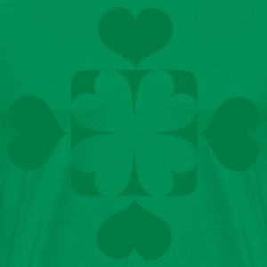 Kelly green four leaf clover with funky square for St Patricks Day T-Shirts - Men's Premium T-Shirt