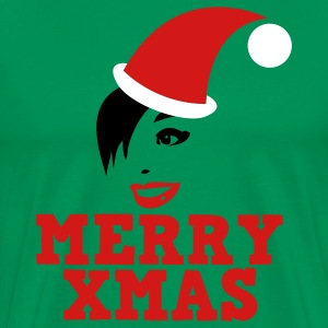 Forest green MERRY XMAS beautiful womans face xmas Christmas SANTA hat  T-Shirts - Men's Premium T-Shirt