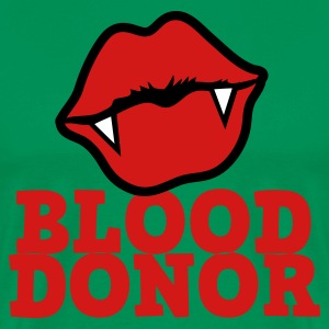 Forest green BLOOD DONOR with VAMPIRE lips cool! T-Shirts - Men's Premium T-Shirt