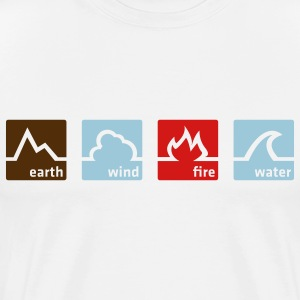 Blanc Earth Wind Fire Water (3c, NEU) T-shirts (manches courtes) - T-shirt premium pour hommes
