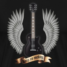 Black guitars_and_wings_black T-Shirts