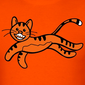 Orange CUTE tiger jumping awesome T-Shirts - Men's T-Shirt