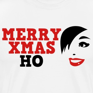 White merry xmas ho comedy insult Christmas shirt T-Shirts - Men's Premium T-Shirt