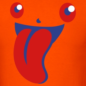 Orange face licking weird red eyes STRANGE! T-Shirts - Men's T-Shirt
